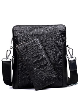 Crocodile Pattern Business Mens Shoulder Bag