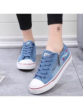 Denim Zipper Platform Thread Womens Sneakers