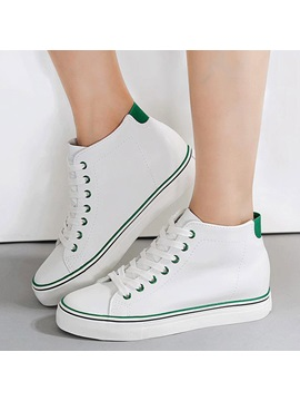 Pu Lace Up Thread Hidden Heel Womens Sneakers