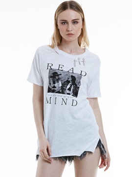 Loose Letter Print Ripped T Shirt