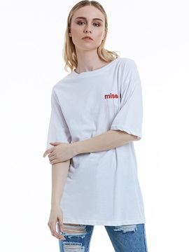 Loose Letter Embroidery T Shirt