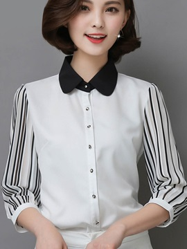Peter Pan Collar Chiffon Stripe Shirt