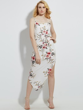 Spaghetti Strap Flower Print Asymmetric Womens Day Dress