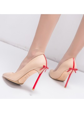 Pu Slip On Bowtie Stiletto Womens Pumps