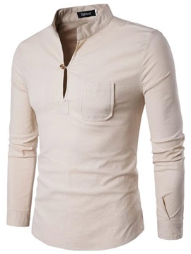 Chest Pocket Slim Pure Color Mens Tee