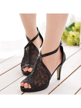 Mesh Zipper Heel Covering Womens Stiletto Sandals