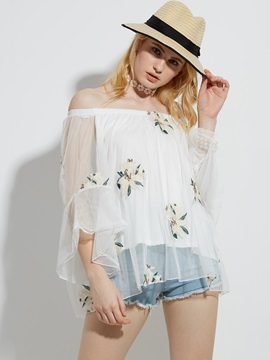 Loose Floral Embroidery See Through Blouse