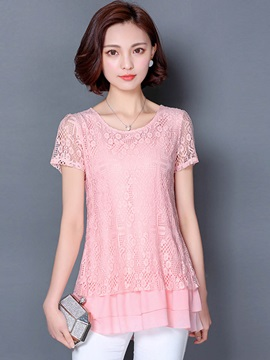 Lace Chiffon Double Layer Blouse