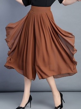 Asymmetric Pleated Patchwork Wide Legs Casual Pants