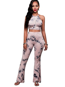 Tie Dye Backless Vest Bellbottoms Pants 2 Piece Sets