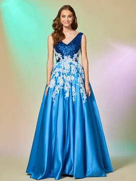 Exquisite A Line Appliques Sleeveless Lace Sequins Floor Length Evening Dress