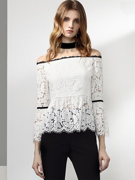 Slash Neck Lace Crochet Blouse