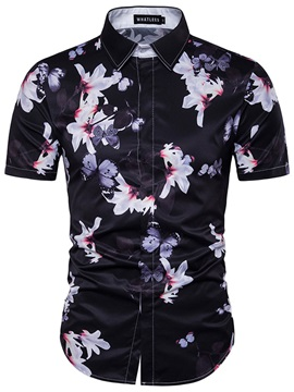 Floral Print Lapel Slim Mens Shirt