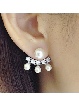 Round Pearl Fanshaped Diamond Earrings