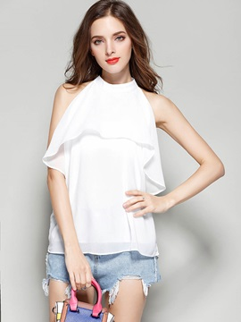 Double Layer Falbala Sleeveless Blouse