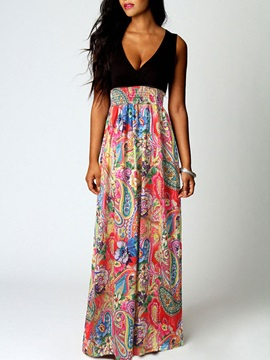 Sleeveless Skirt Floral Maxi Womens Dress