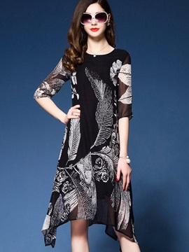 Floral Imprint Half Sleeve Chiffon Short Day Dress