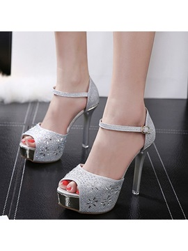 Glitter Peep Toe Heel Covering Womens Sandals