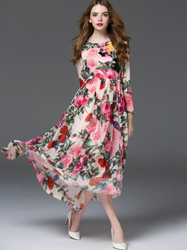 Amazing Long Sleeve Floral Imprint Maxi Dress