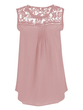 Hollow Lace Candy Colored Sleeveless Blouse
