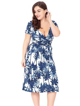 Plant Printed V Neck Beach Day Dress