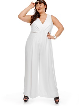 Plus Size V Neck Plain Jumpsuit