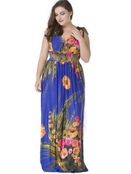 Backless Floral Plus Size Maxi Dress