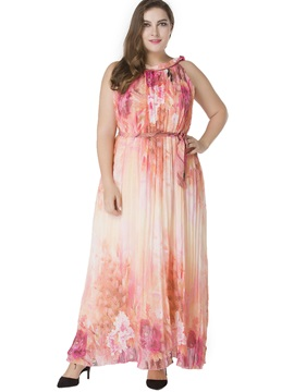 Pleated Plus Size Floral Chiffon Maxi Dress
