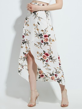 High Waist Print Asymmetric Womens Skirt