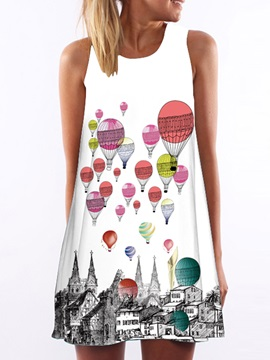 A Line Short Print Womens Day Dress