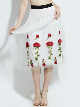 Flower Print Mesh Patchwork Pleated Skirt