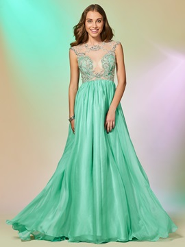 A Line Beading Lace Scoop Prom Dress