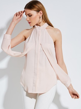 Stand Collar Cold Shoulder Blouse