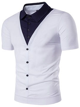 Summer Double Layer Lapel Mens T Shirt