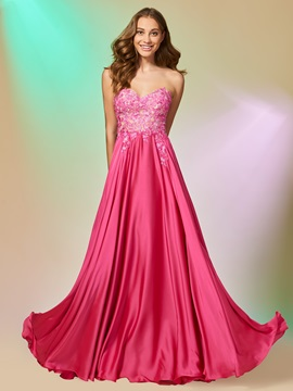 Pretty Appliques Sweetheart A Line Sleeveless Floor Length Prom Dress