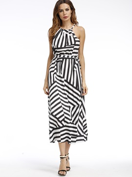 Strisce Sleeveless Maxi Dress