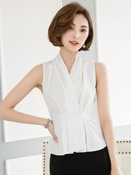 White Slim V Neck Sleeveless Blouse