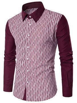 England Style Patchwork Straight Mens Shirt