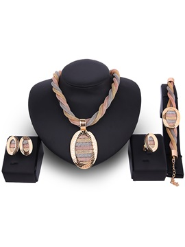 Gold Twist Design Alloy Four Pieces Jewelry Set