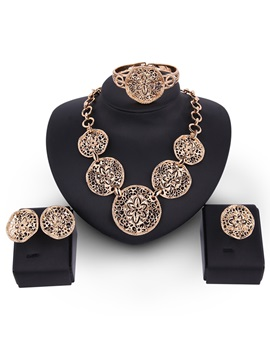 Flowers Carving Design Hollow Alloy Jewelry Set