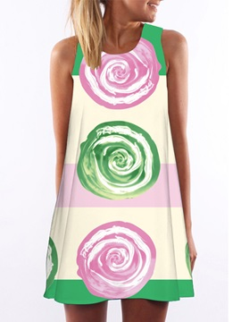 Print Sleeveless Womens Dress
