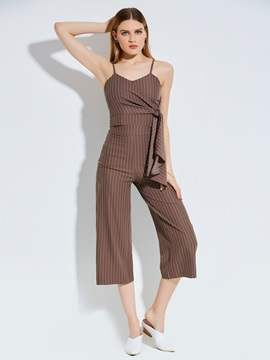 Stripe Mid Calf Wide Legs Womens Pants Suit