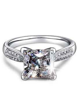 Sterling Silver Princess Cut White Zircon Ring