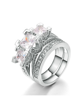 Charming Three Zircon Inlaid E Plating Ring Set