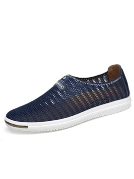 Mesh Patchwork Slip On Round Toe Mens Sneakers