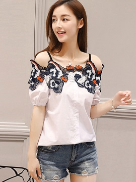 Cold Shoulder Embroidery Lantern Sleeve Blouse