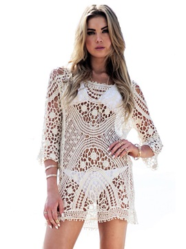 Hollow See Through Embroidery Raglan Sleeve Cover Up