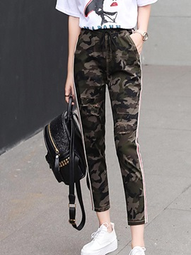 Slim Camouflage Print Lace Up Casual Pants