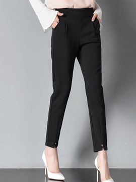 Slim High Waist Pleated Patchwork Casual Pants