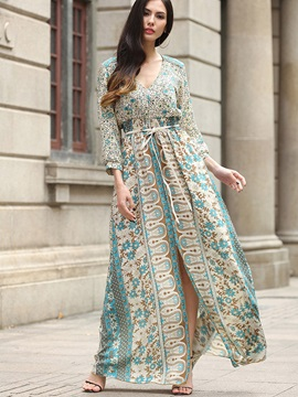 Dazzling Floral Imprint Long Sleeve Womens Maxi Dress